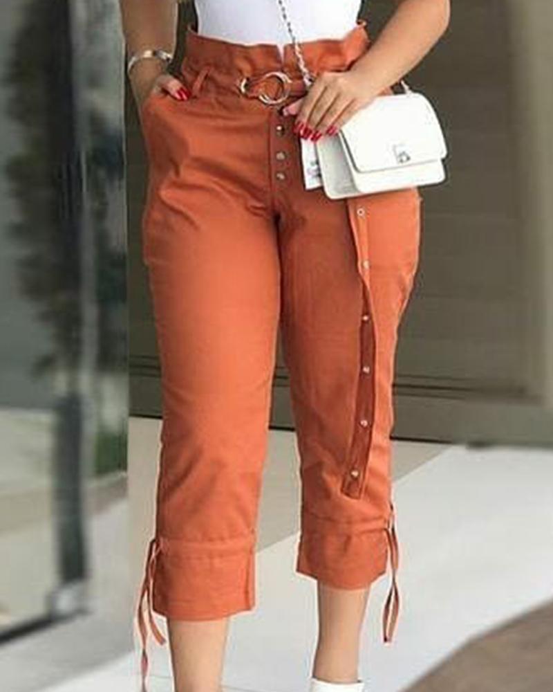 boutiquefeel / Calças sólidas com cordões na cintura e solto com cordão