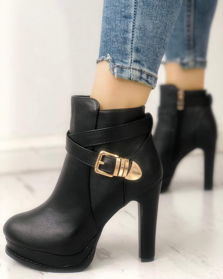 Crisscross Buckle Platform Chunky Ankle Boots