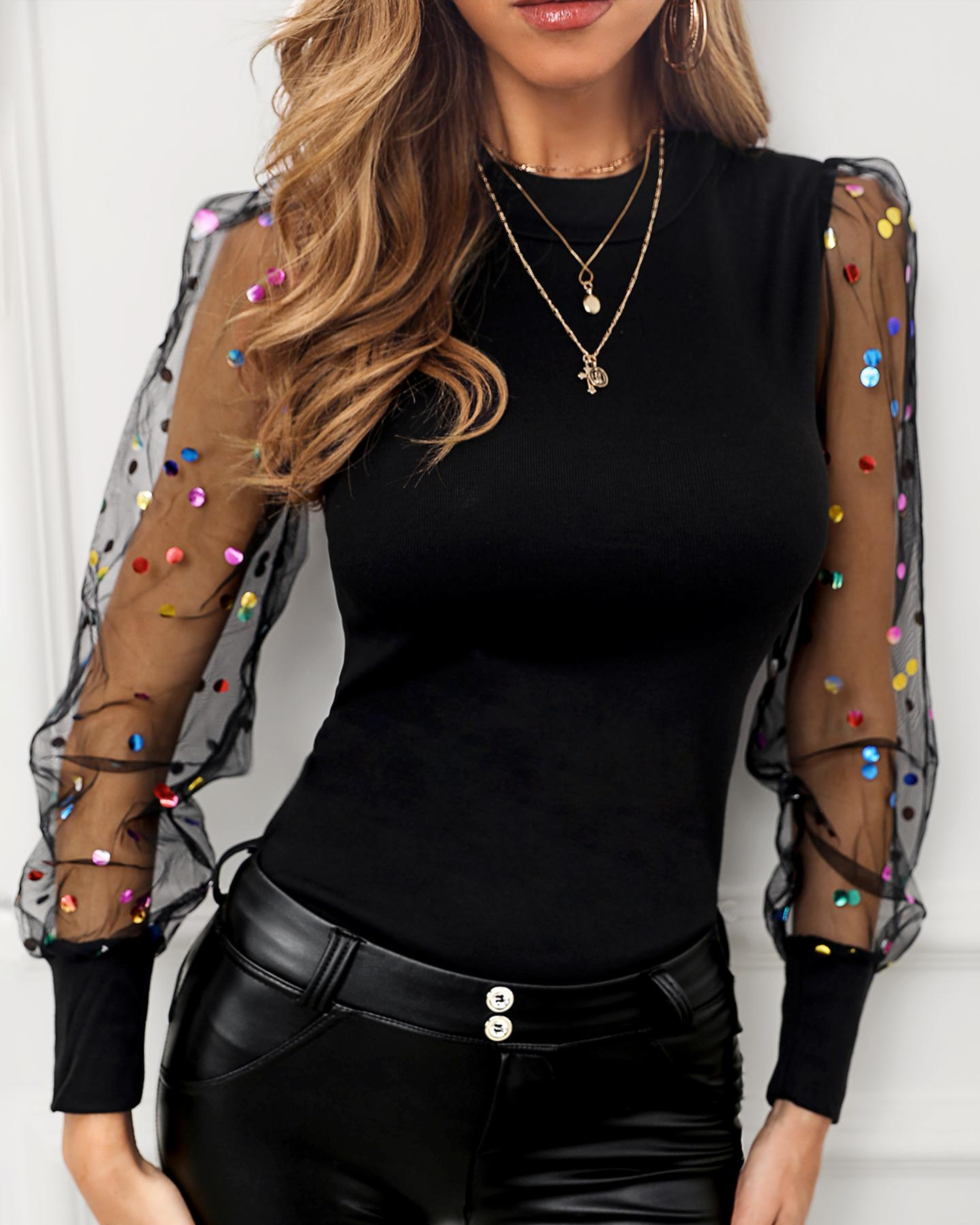 Sequins Dot Puffed Sleeve Mesh Blouse фото