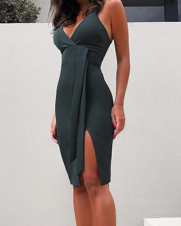Solid Plunge Side Slit Bodycon Dress