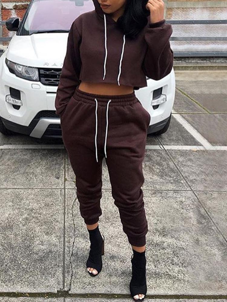 Casual Hoodie Cropped Sweatshirt Set
