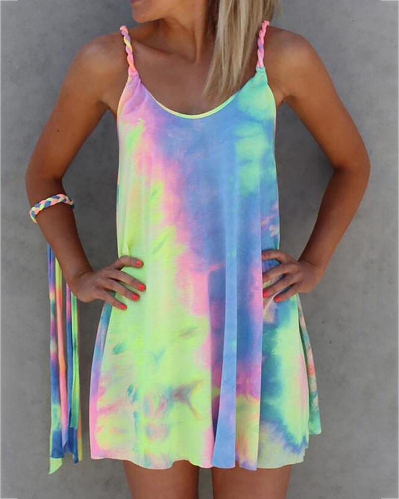 Spaghetti Strap Tie Dye Print Dress фото