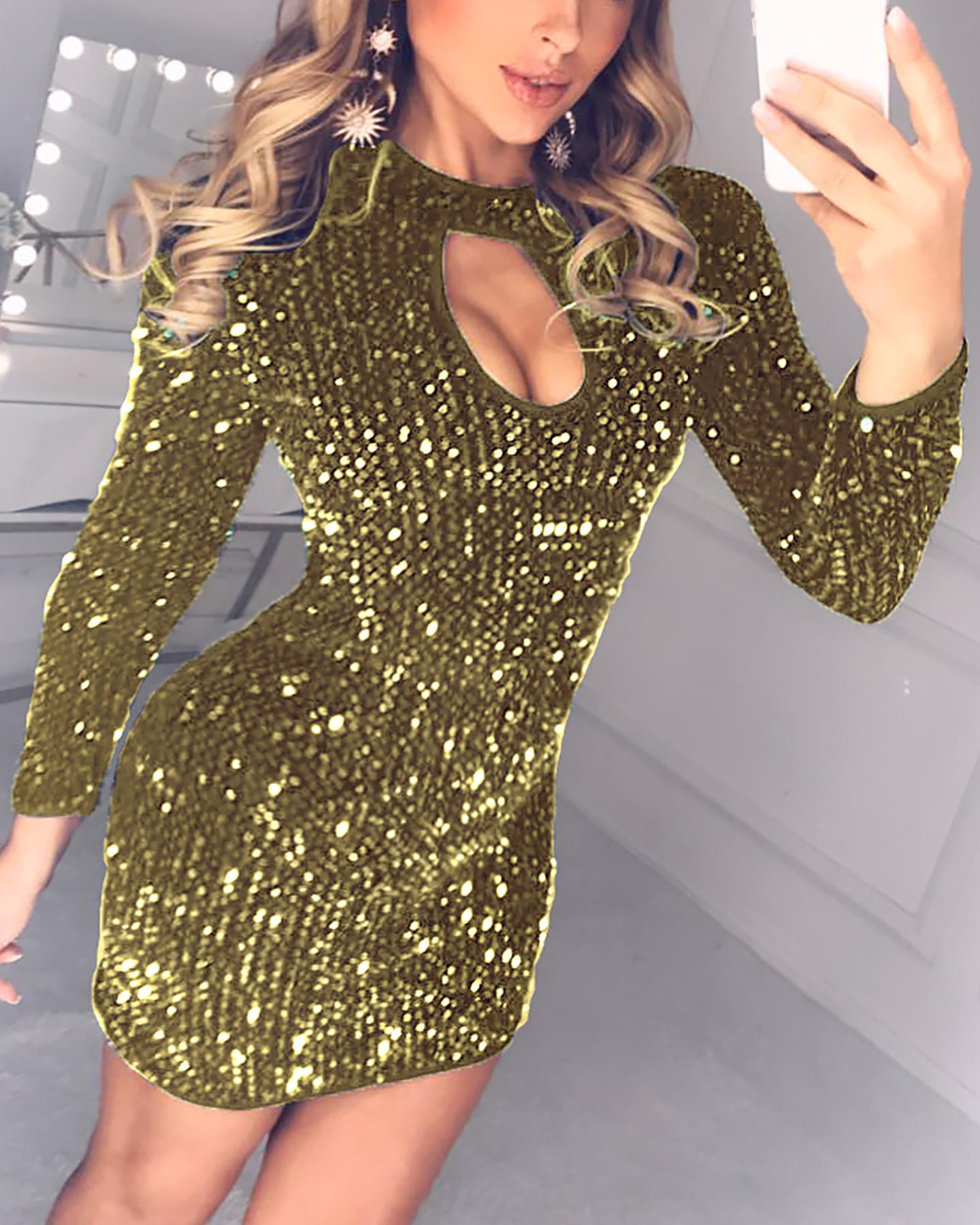 Sequins Cut Out Chest Bodycon Dress фото