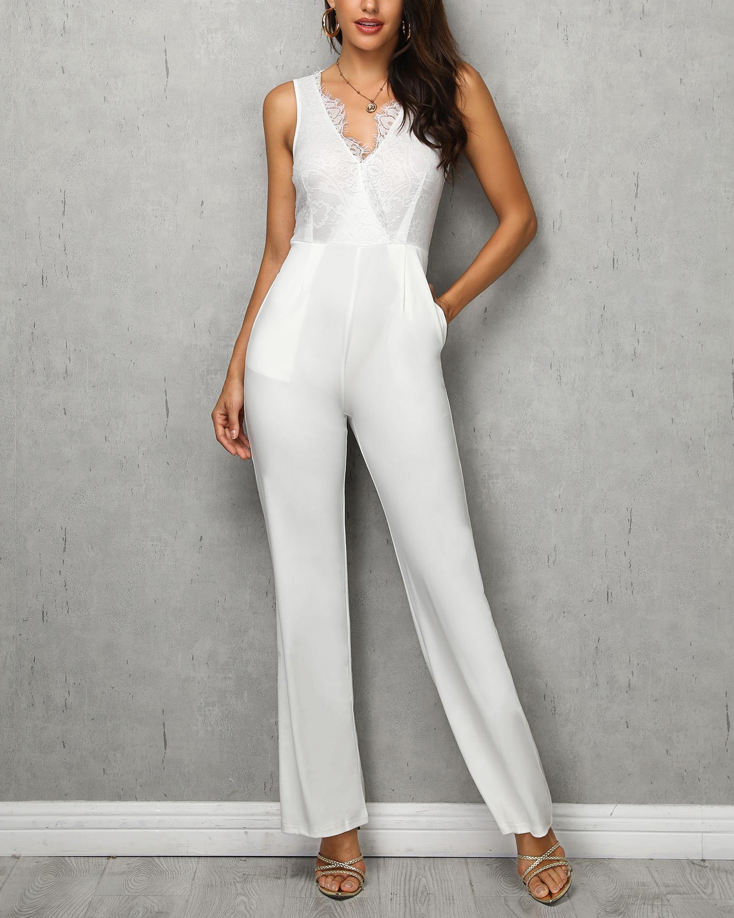 Eyelash Lace Bodice Pocket Jumpsuit
