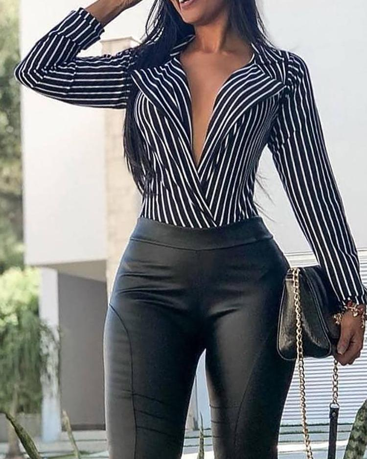 Vertical Stripes Plunge Lapel Neck Blouse, Black
