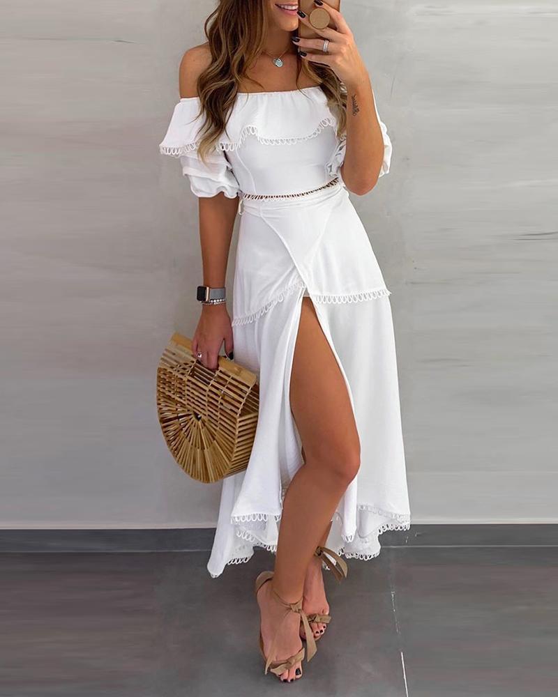 ivrose / Fora do ombro Plissado Tops Split Skirt Sets