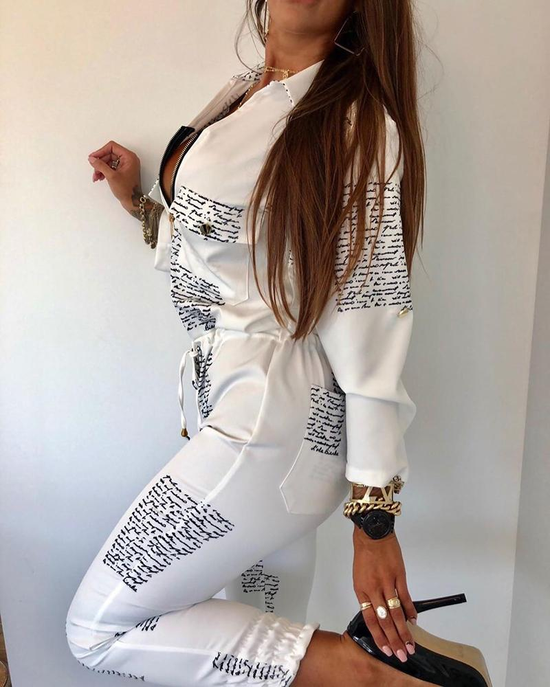 boutiquefeel / Carta impressão Zipper bolso Drawstring Design Jumpsuit