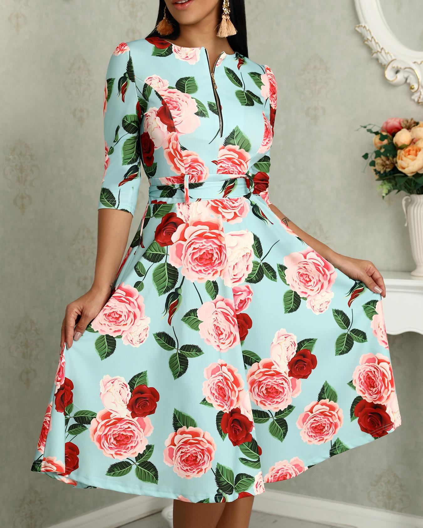 Floral Print Zipper Up Self Belted Pleated Dress фото