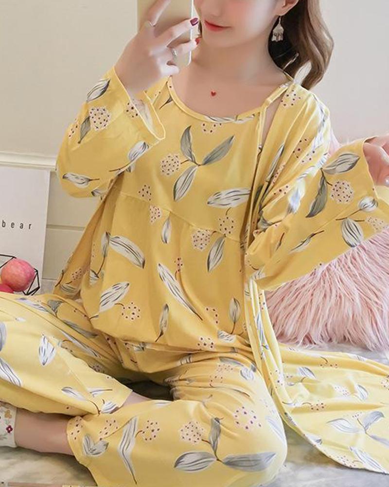 Tropical Print 3-Piece Pajama Set фото