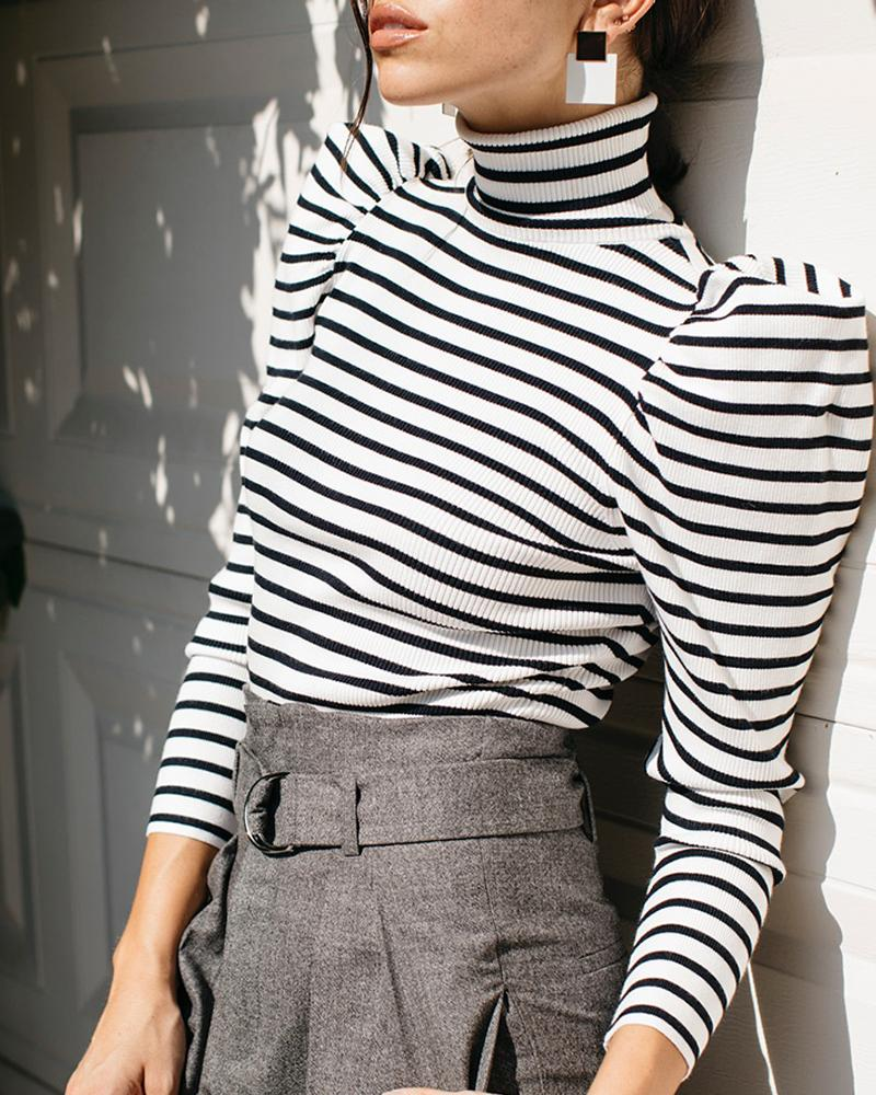 High Neck Colorblock Striped Puff Sleeve Blouse, Black