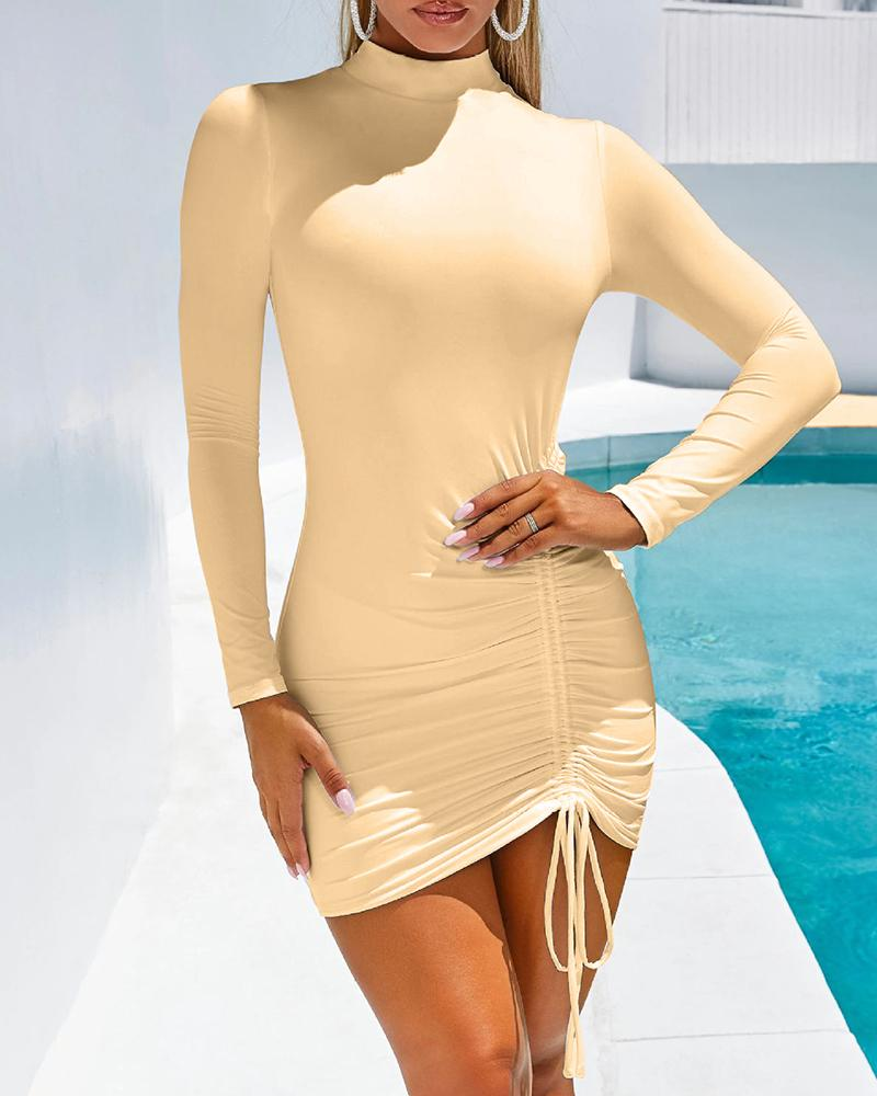 Solid Long Sleeve Drawstring Design Ruched Dress фото