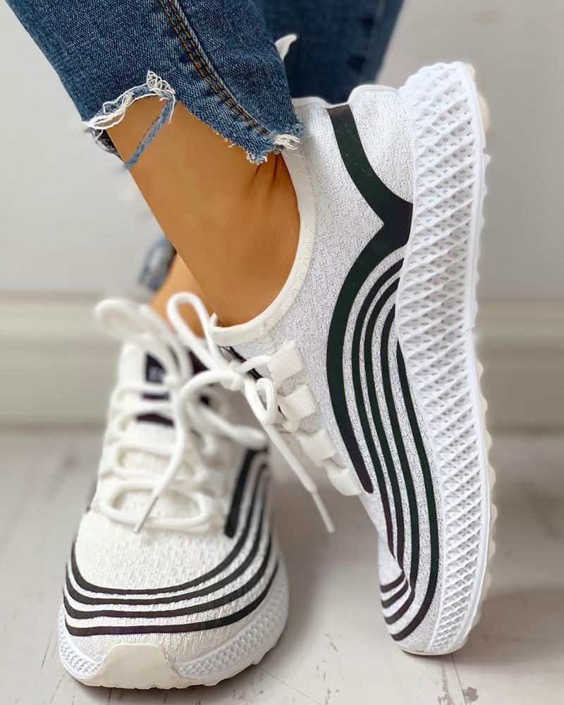 joyshoetique / Striped Lace-Up Muffin Casual Sneakers