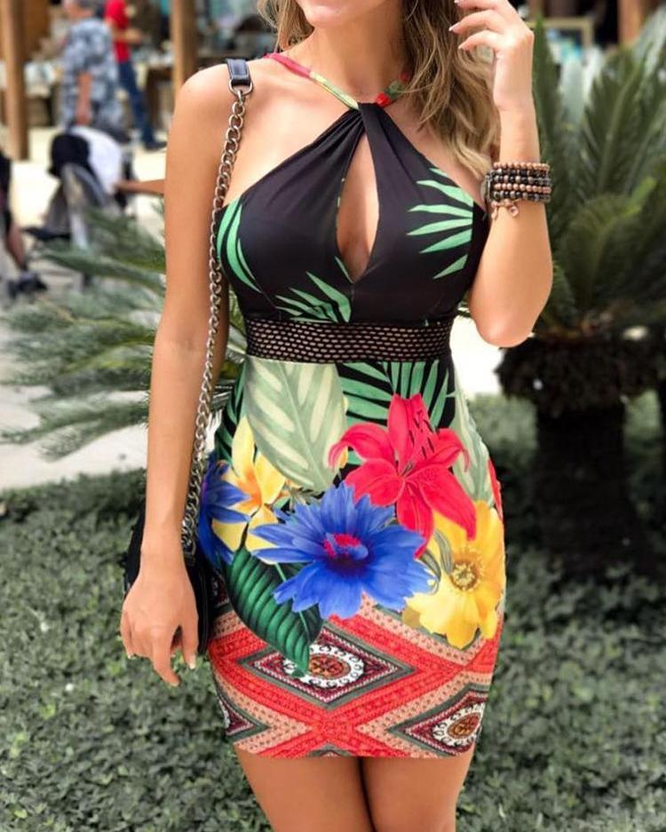 Floral Print Halter Cutout Bodycon Mini Dress, Multicolor