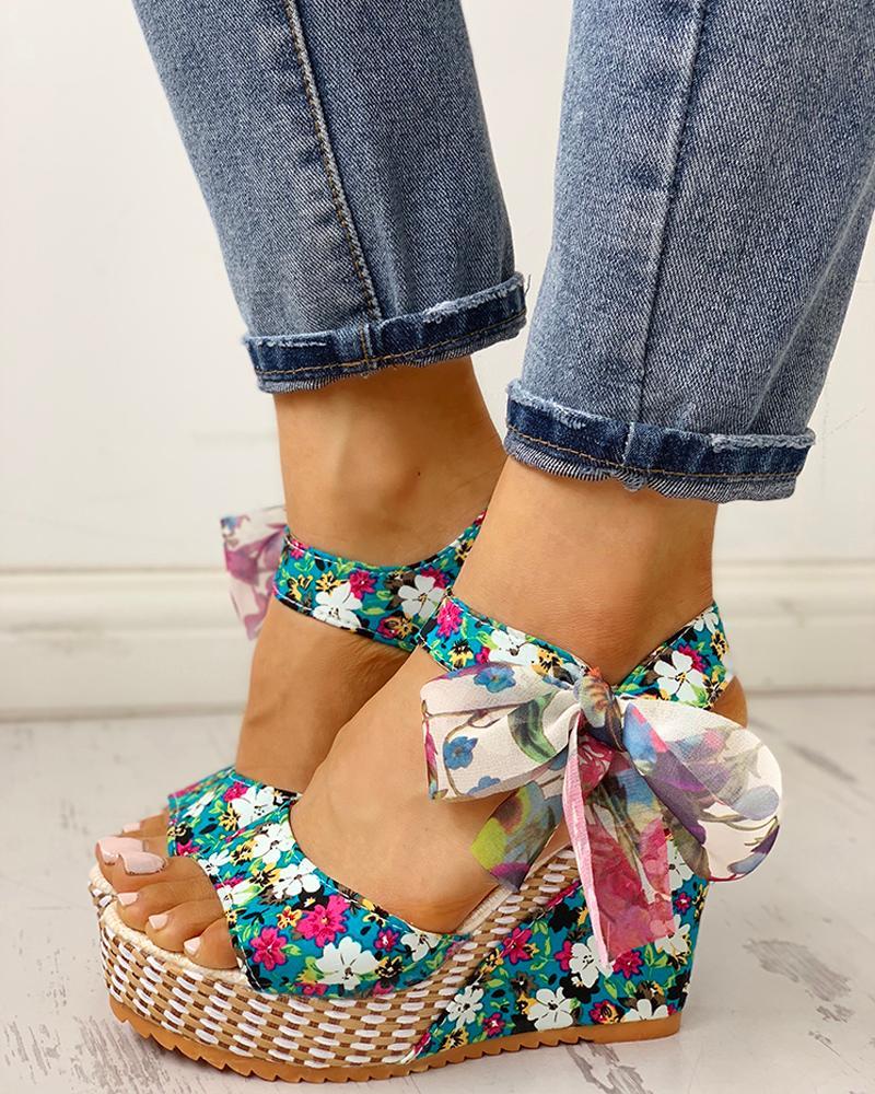 boutiquefeel / Sandalias de cuña con plataforma de diseño floral del bowknot