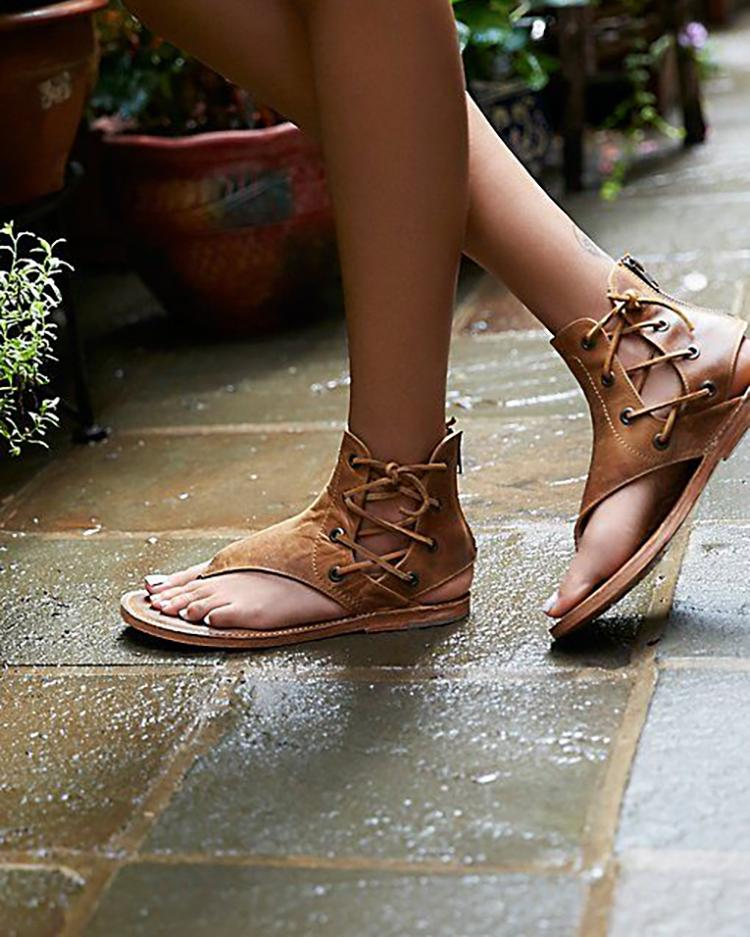 chicme / Lace-up Cutout Toe Post Flat Gladiator Sandals