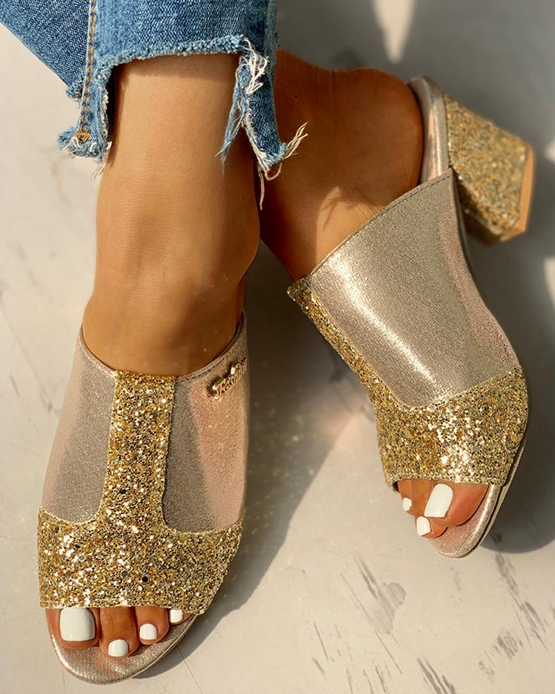 Glitter Peep Toe Slingback Chunky Heeled Sandals, Gold