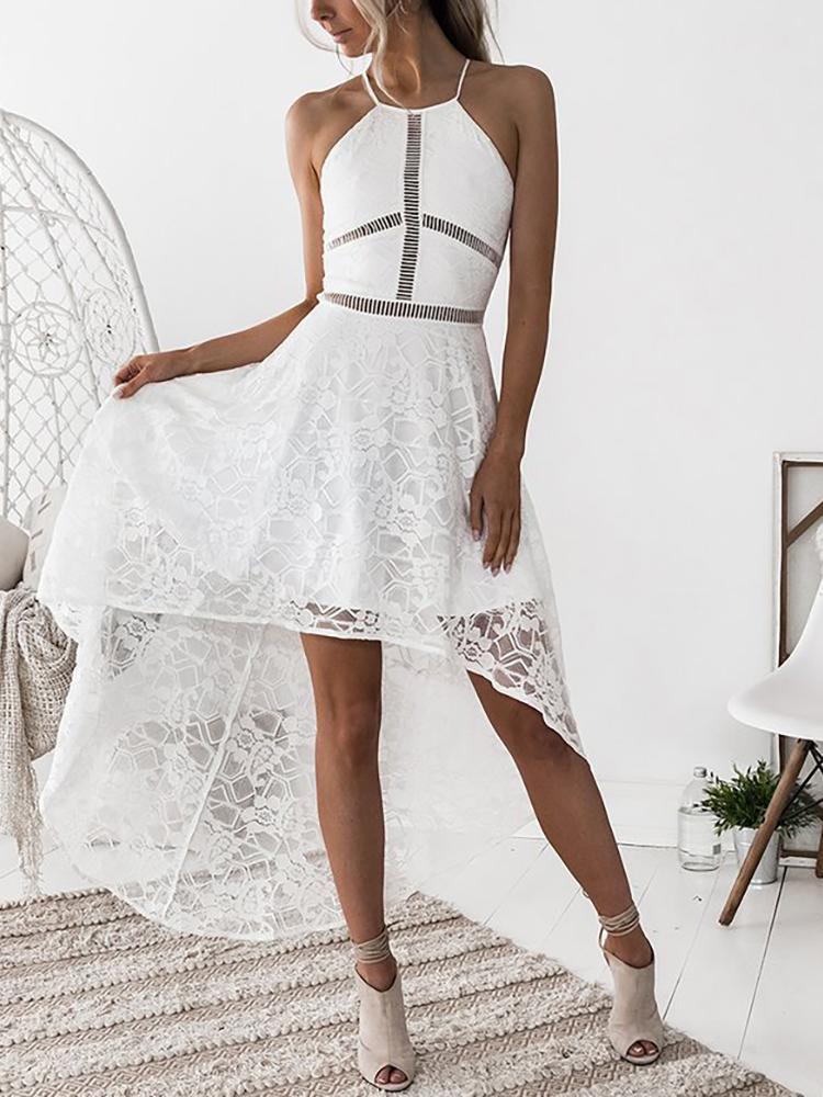 Appliqued Double V Dip Hem Lace Dress