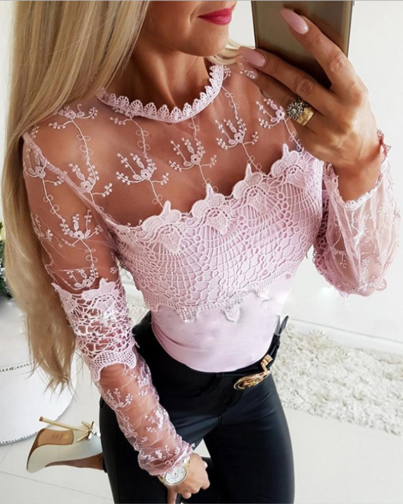 Sheer Mesh Lace Insert Casual Blouse фото