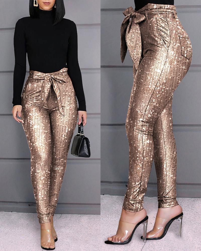 Glitter Sequins Belted Skinny Pants фото
