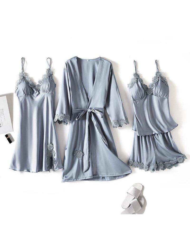 Satin Lace Detail 4Pcs Pajama Set фото