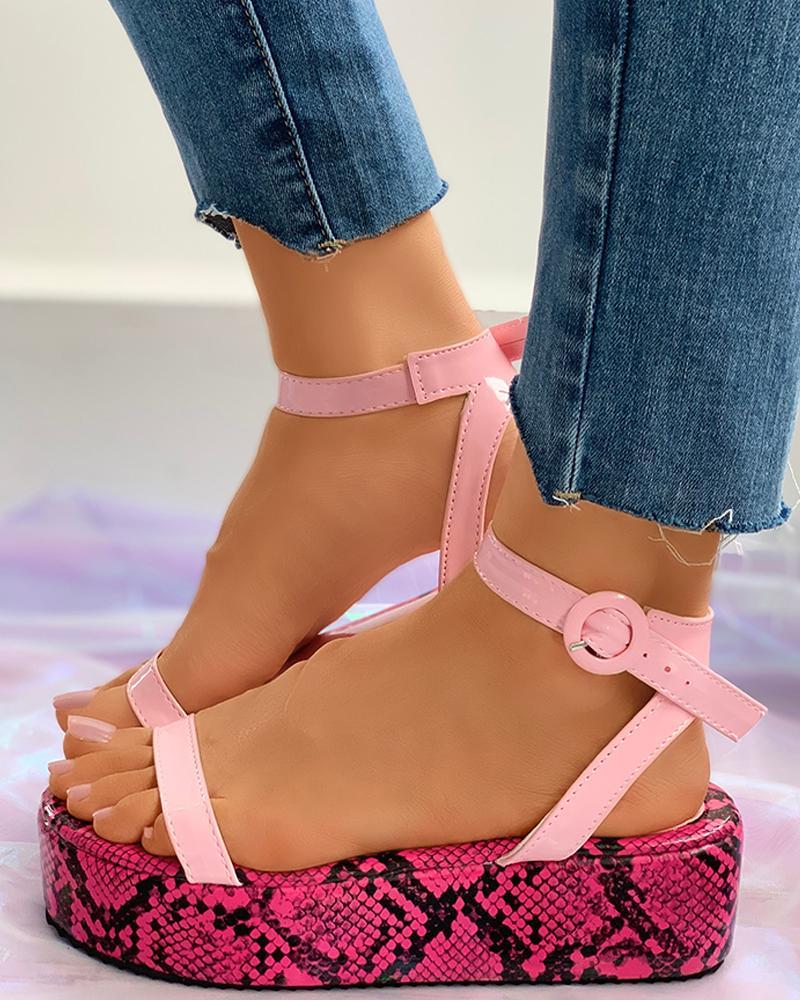 Snakeskin Pattern Ankel Buckled Platform Sandals фото