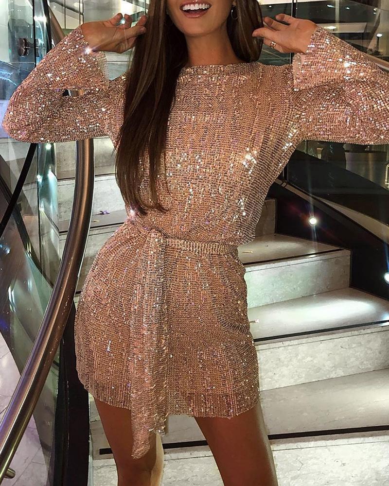 boutiquefeel / Glitter em torno do pescoço manga comprida lantejoulas vestido bodycon