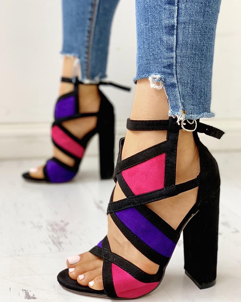 Contrast Color Peep Toe Chunky Heels