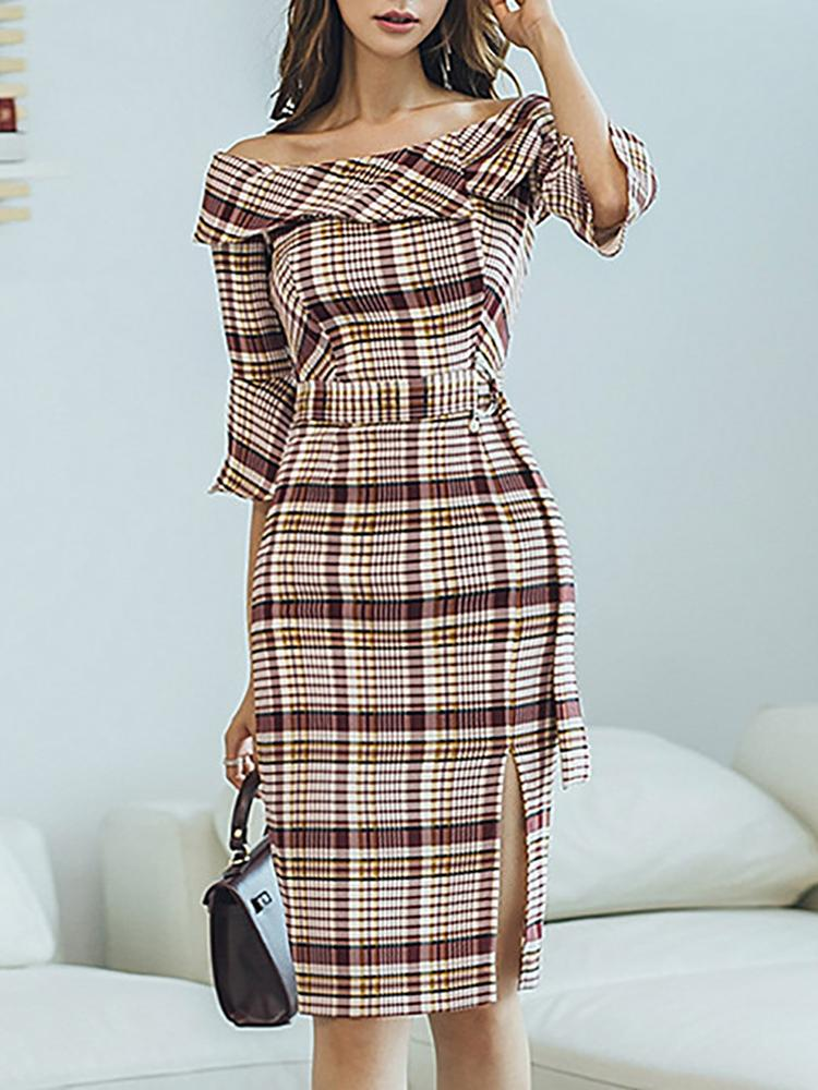 Off Shoulder Plaid Ruffles Design Dress