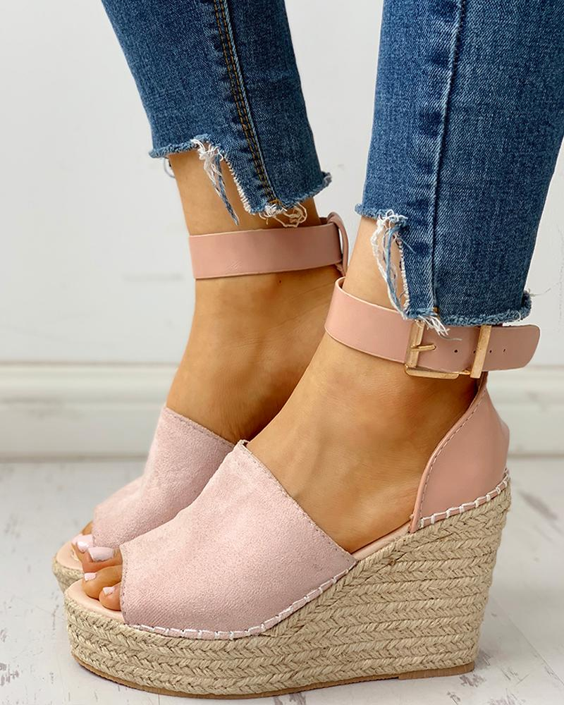 boutiquefeel / Tornozelo Buckled Espadrille Wedge Sandals