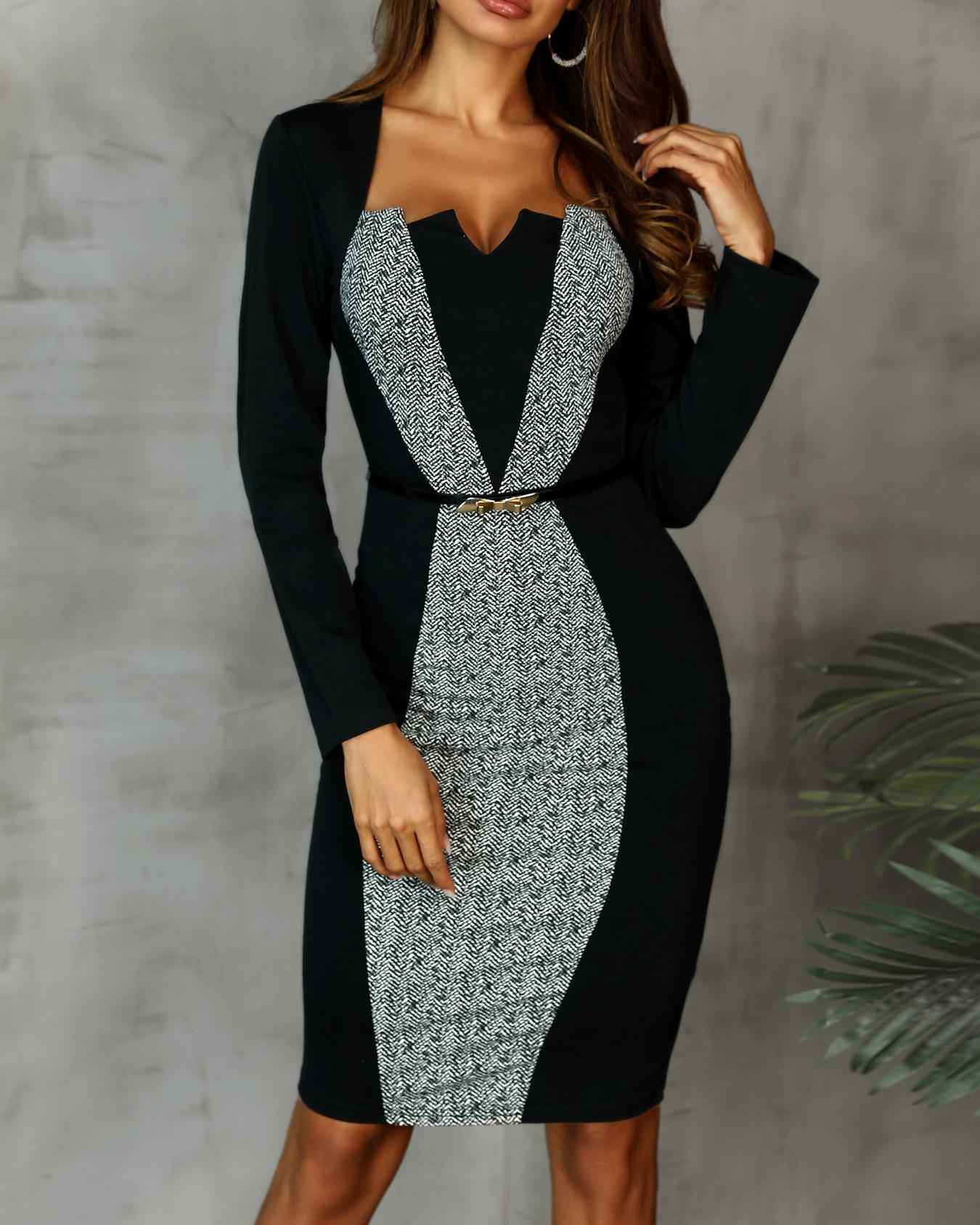 ivrose / Two Tone Cut And Sew Bodycon Dress