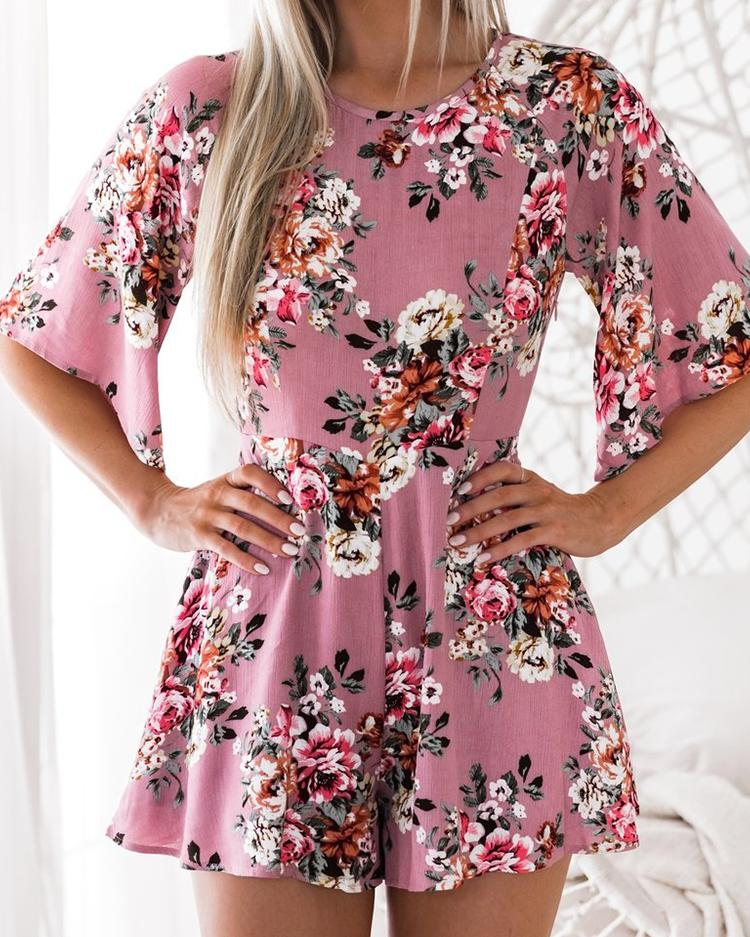 Stylish Floral Print Backless Playsuit фото