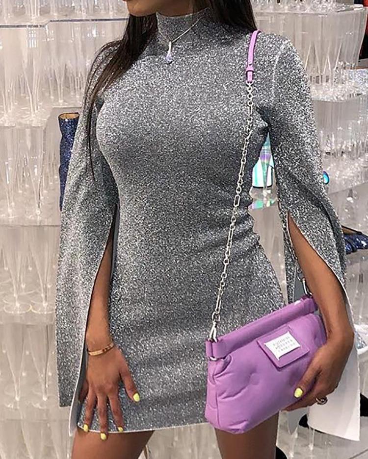 boutiquefeel / Vestido ajustado con manga abotinada y cuello alto brillante