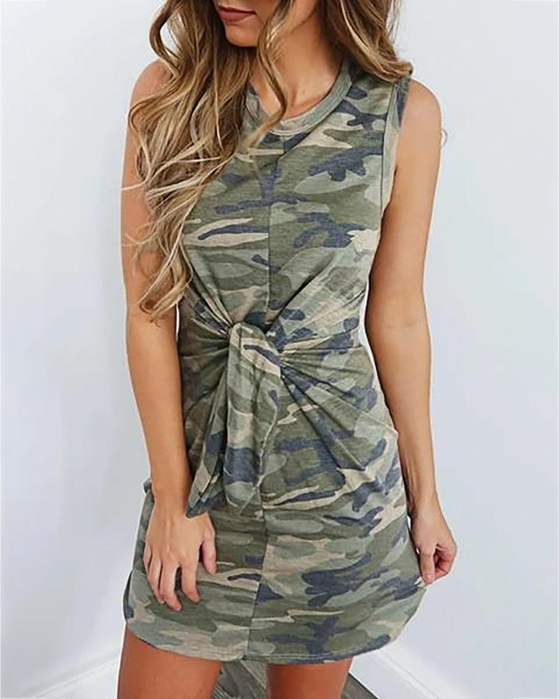 Camouflage Print Knotted Casual Dress фото