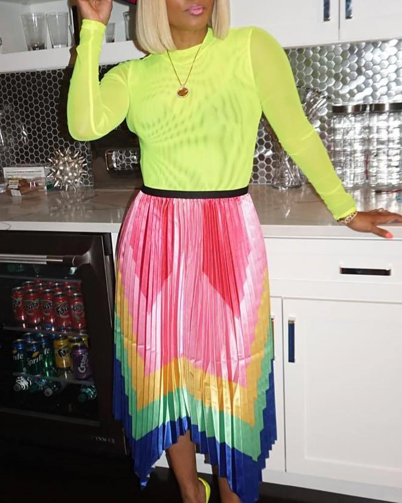 Colorful Chevron Stripe Pleated Skirt фото