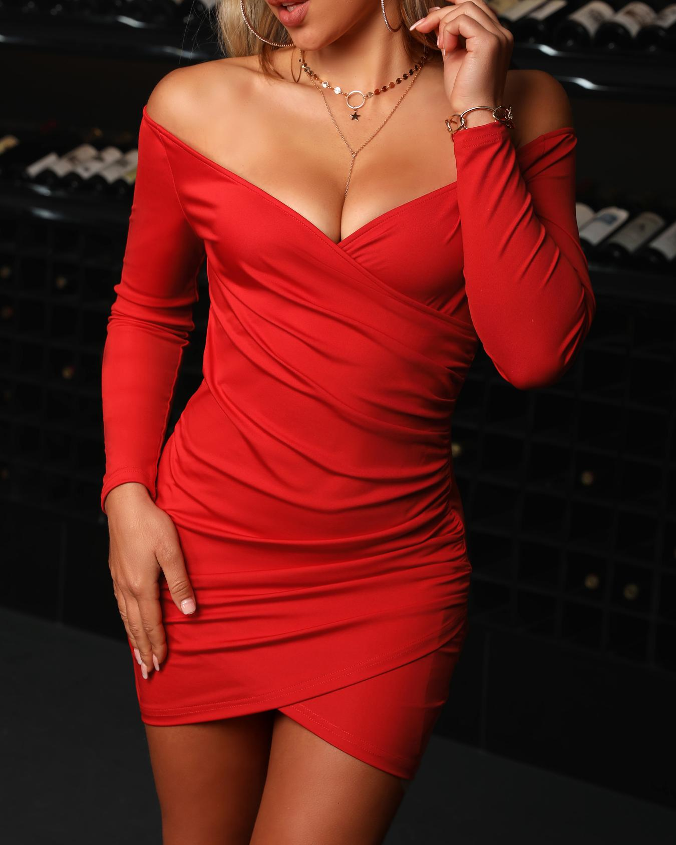 Off Shoulder Surplice Wrap Ruched Bodycon Dress, Red