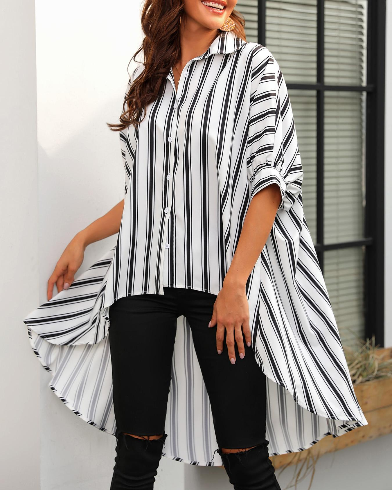 Striped Bat-Wing Sleeve Dip Hem Blouse фото