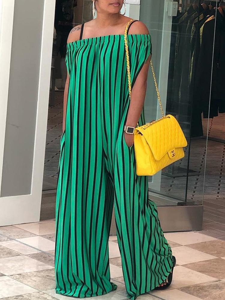 ivrose / Contrast Stripes Off Shoulder Wide Leg Jumpsuit