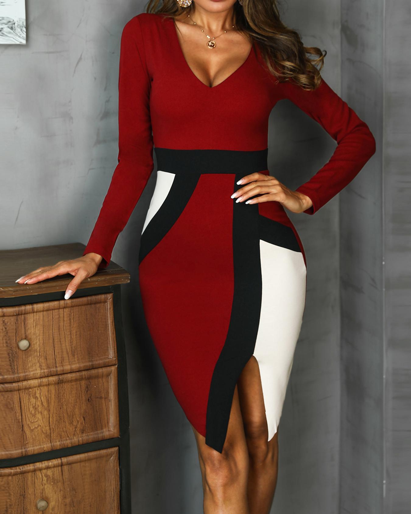 Colorblock Insert Slit Long Sleeve Dress фото