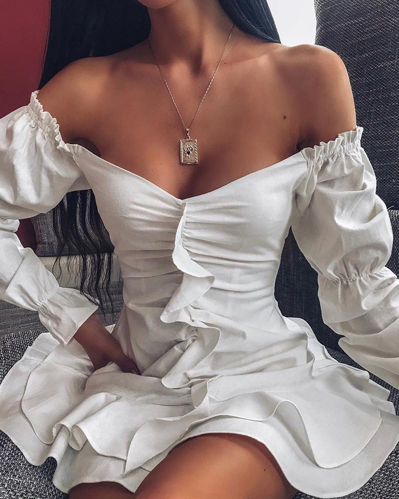 joyshoetique / Off Shoulder Ruffle Sleeve Layered Dress