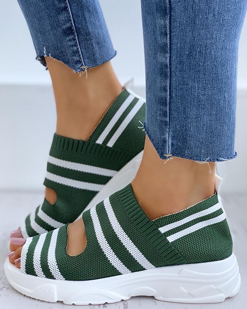 Striped Colorblock Peep Toe Wedge Heeled Sandals фото