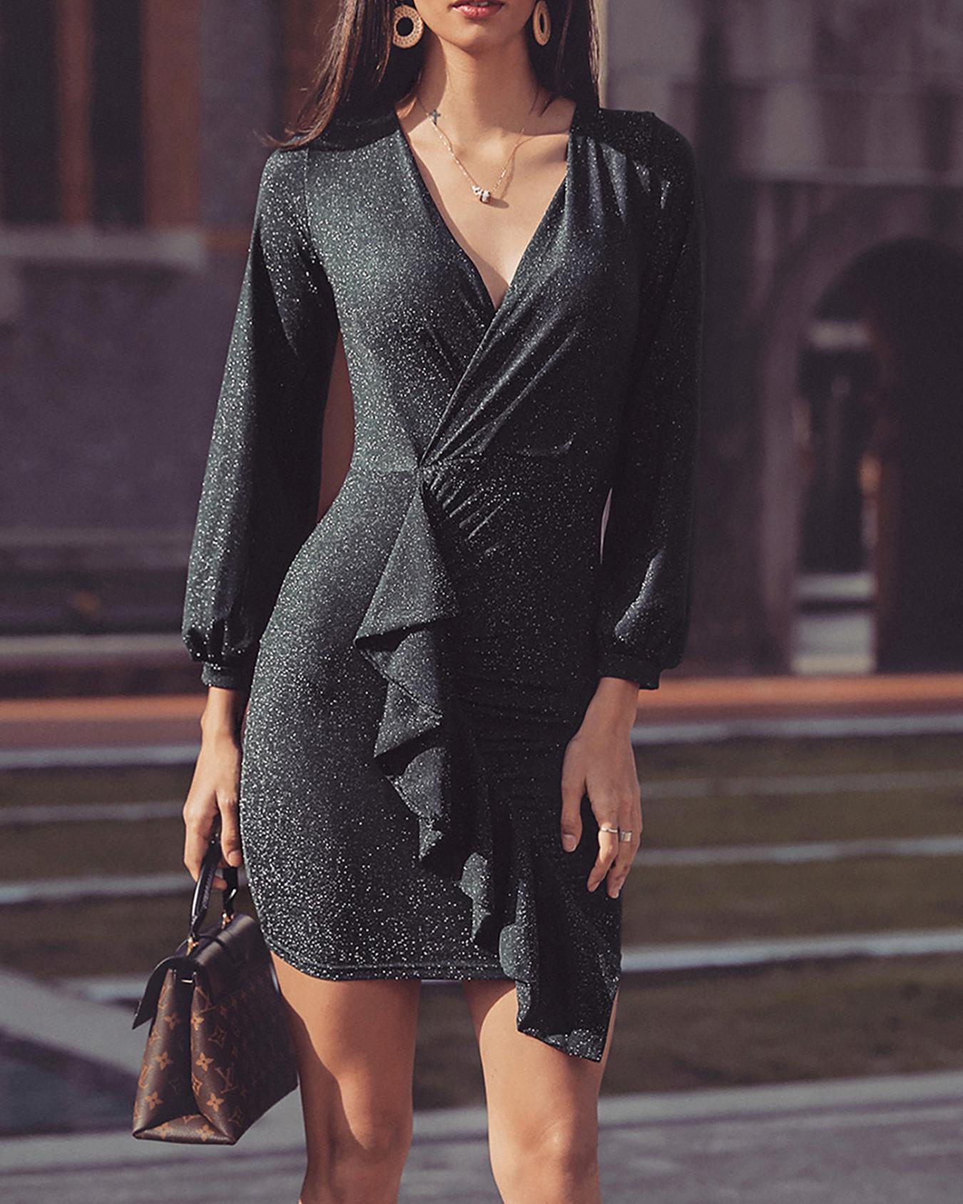 Shiny Ruffle Details Puff Sleeve Dress