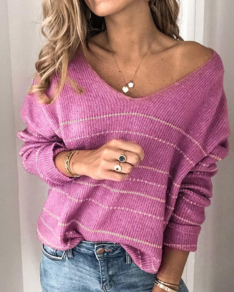 V Neck Striped Knit Sweater фото