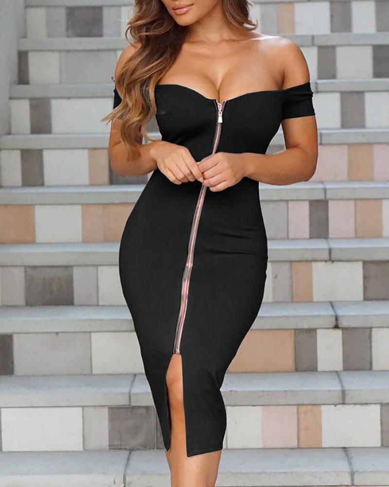 boutiquefeel / Sexy mujeres fuera del hombro cremallera frente vestido de Midi