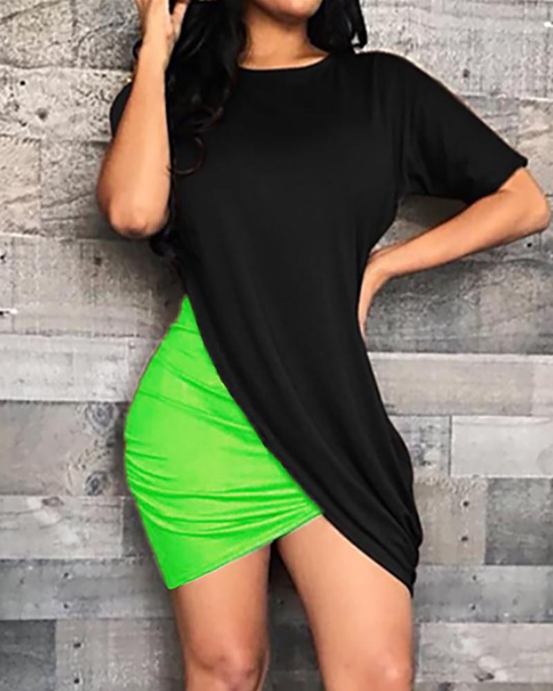 ivrose / Colorblock Surplice Wrap Bodycon Dress