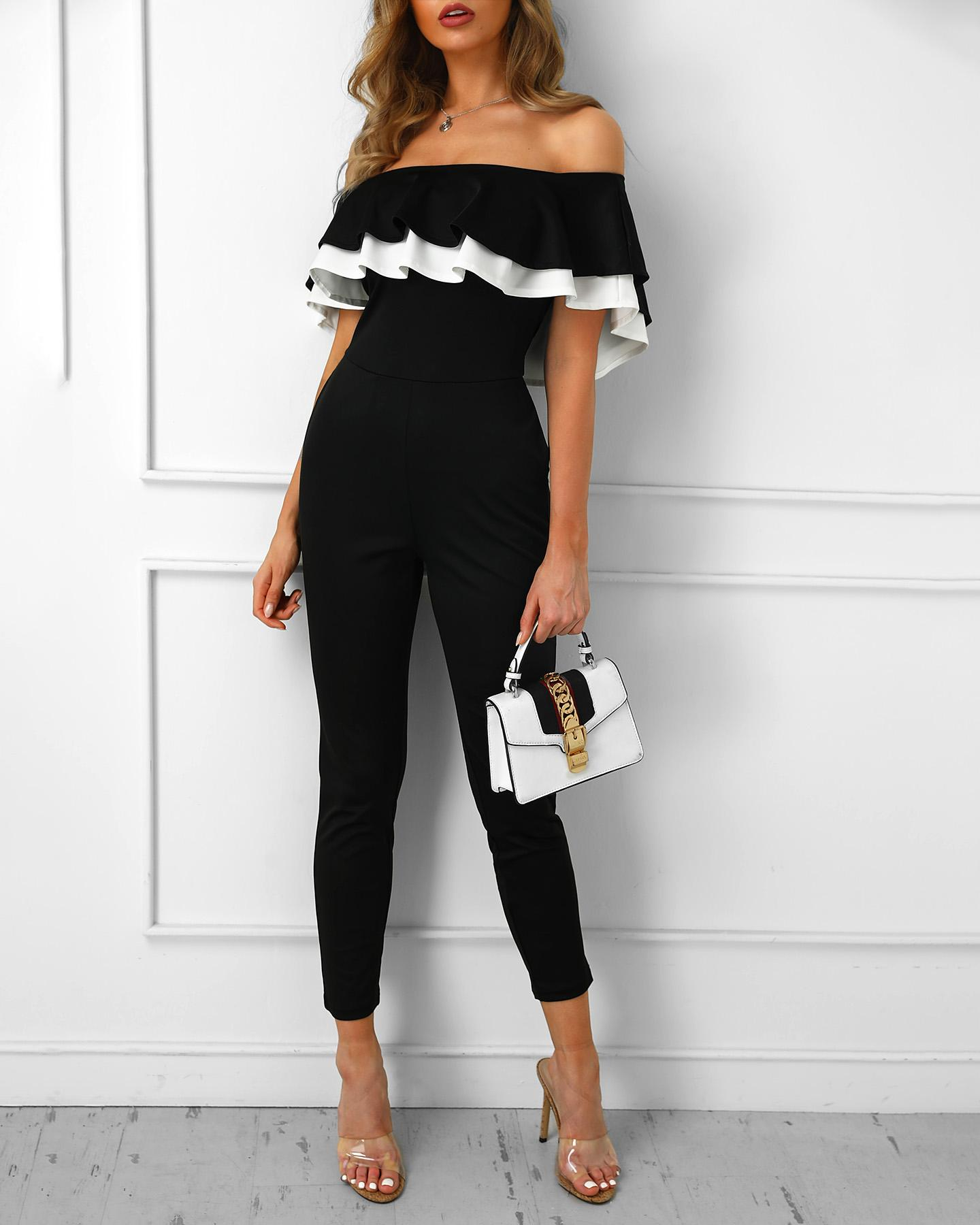 Off Shoulder Colorblock Ruffles Jumpsuit, Black