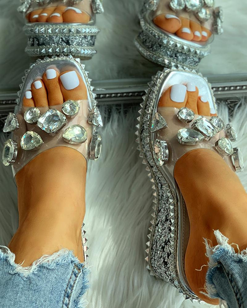 Open Toe Studded Rivet Heeled Sandals фото