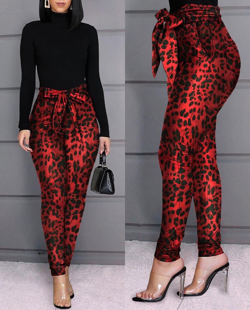 joyshoetique / Leopard Design Casual Pants
