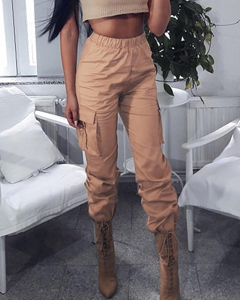 boutiquefeel / Pantalones cargo de cintura alta sólidos con diseño de bolsillo