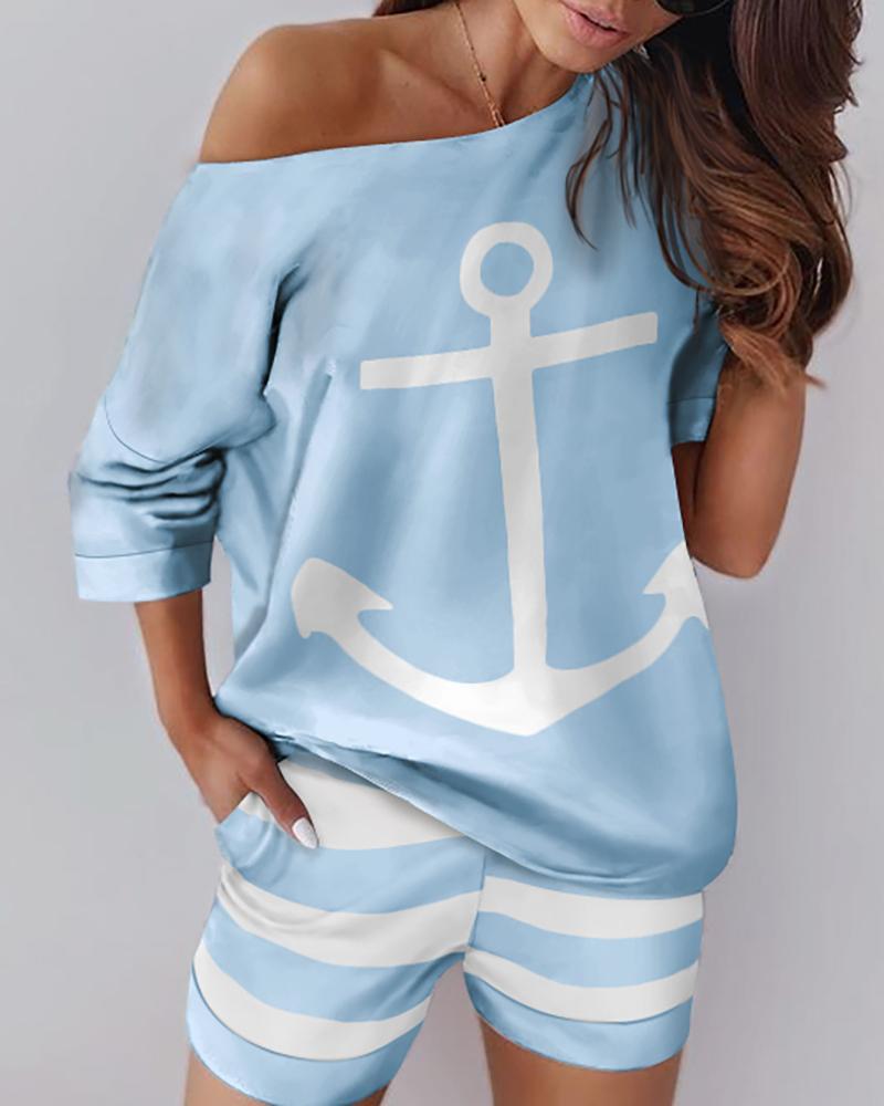 chicme / Anchor para barco com estampa de um ombro e conjunto curto listrado