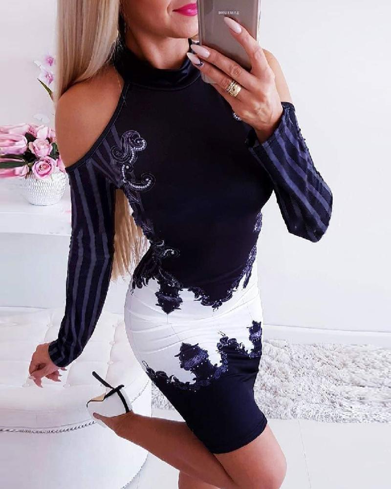 Purplish Blue Cold Shoulder Bodycon Dress